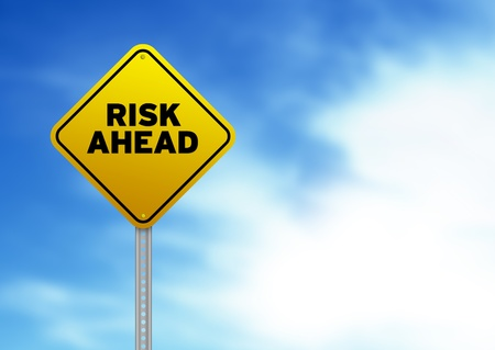 risks ahead: High resolution graphic of a yellow Risk Ahead Road Sign on Cloud Background.