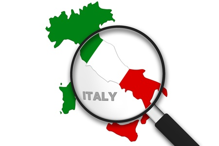 europa: Magnifying Glass with the Italy Country Map on white background.