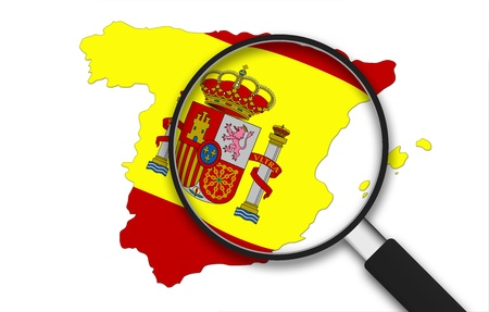 Magnifying Glass with the Spain country Map on white background. Imagens