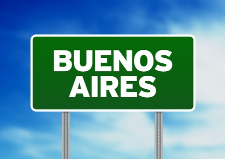 highway sign: Green Buenos Aires highway sign on Cloud Background.  Stock Photo