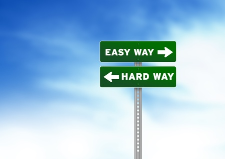 financial questions: Green Easy Way and Hard Way Road Sign on Cloud Background