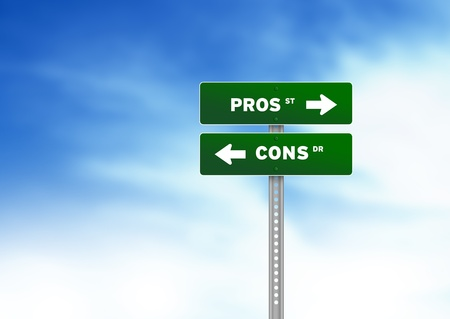 cons: Green Pros and Cons Road Sign on Cloud Background