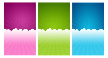 giftcard: Colorful greeting card templates with cloud elements.