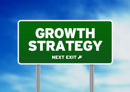 Green Growth Strategy highway sign on Cloud Background.  photo