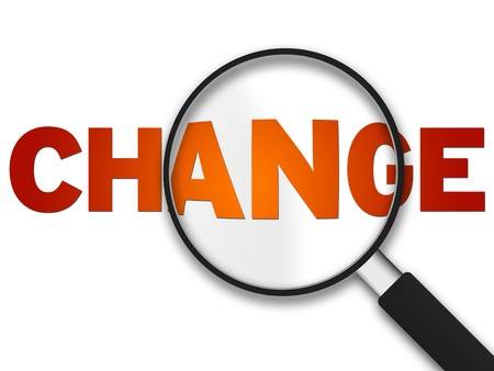enlarge: Magnifying Glass with the word change on white background.