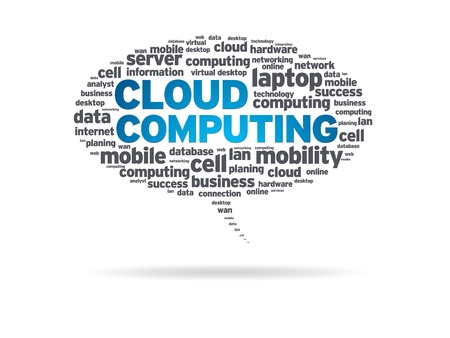 Speech bubble with the word cloud computing on white background.