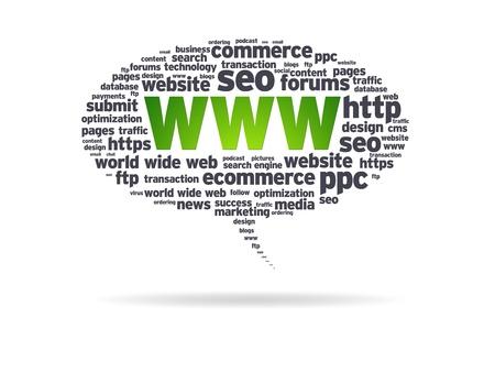 seo: Speech bubble met het woord world wide web op een witte achtergrond. Stockfoto