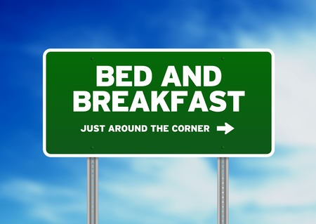 breakfast hotel: Bed and Breakfast Road Sign on cloud background