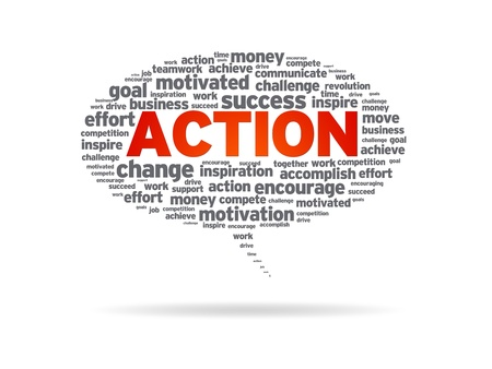 Speech bubble with the word action on white background. Banco de Imagens