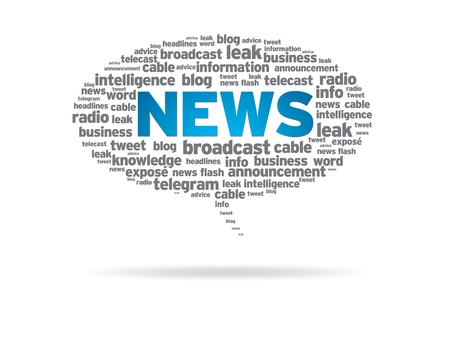 Speech bubble with the word news on white background.