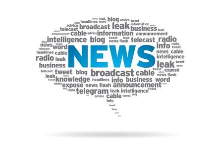 newletter: Nuvoletta con le notizie di parola su sfondo bianco. Archivio Fotografico