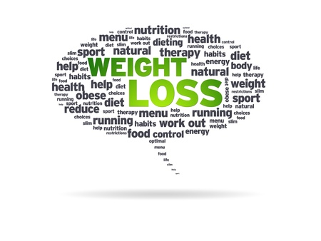 low carb diet: Speech bubble with the words weight loss on white background.