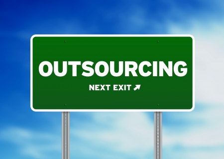 Green outsourcing highway sign on Cloud Background.  Stock Photo