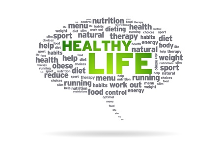 Speech bubble with the words Healthy Life on white background. Stock Photo - 10121022