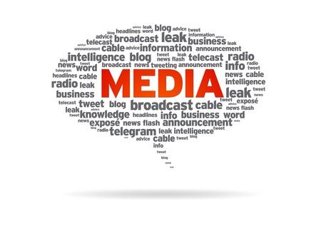 tweet balloon: Speech bubble with the word media on white background. Stock Photo