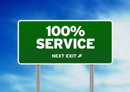 Green 100% Service highway sign on Cloud Background.  Stok Fotoğraf