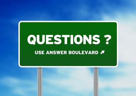 questions: Green questions highway sign on Cloud Background.