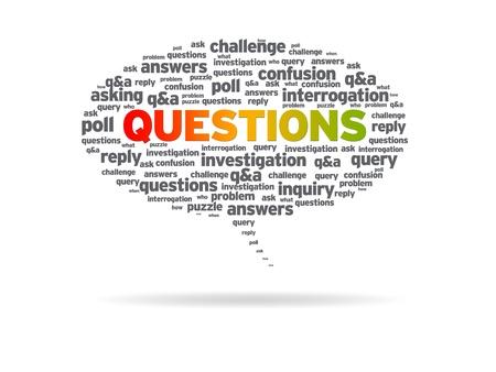 query: Tekstballon met het woord vragen op een witte achtergrond.