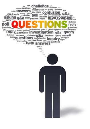 questions: Paper man with questions bubble on white background.  Stock Photo
