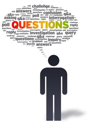 perplesso: Uomo di carta con bolla di domande su sfondo bianco.