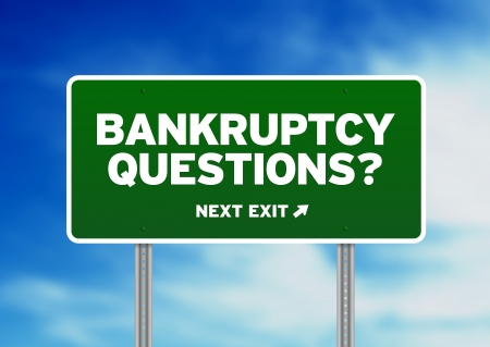 Green Bankruptcy Questions Road highway sign on Cloud Background.  Stock Photo - 10227379