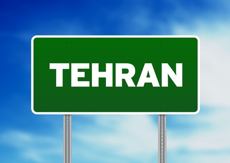 Green Tehran highway sign on Cloud Background.  Stock Photo - 10190185