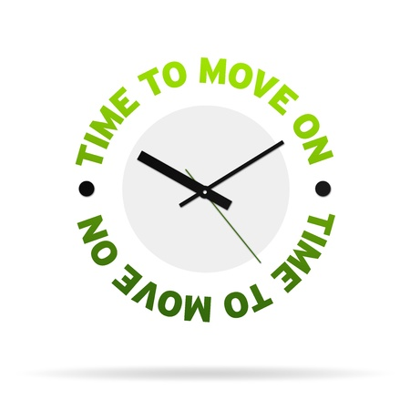 move forward: High resolution clock with the words time to move on,  on white background. Stock Photo