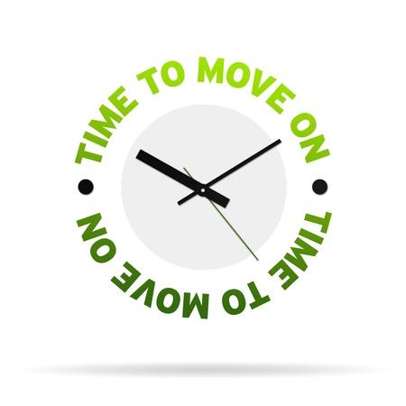trasloco: Orologio ad alta risoluzione con il tempo di parole di passare, su sfondo bianco.