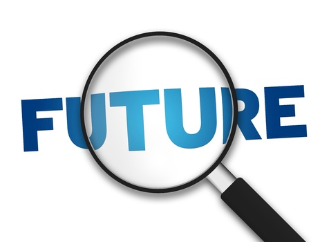 expected: Magnifying Glass with the word Future on white background.