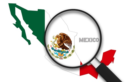 Magnifying Glass with the Mexico country Map on white background.