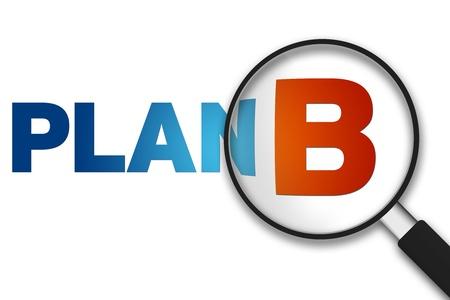 Lente di ingrandimento con la parola Plan B su sfondo bianco.