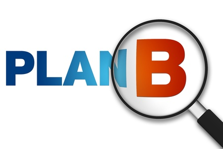 Magnifying Glass with the word Plan B on white background.