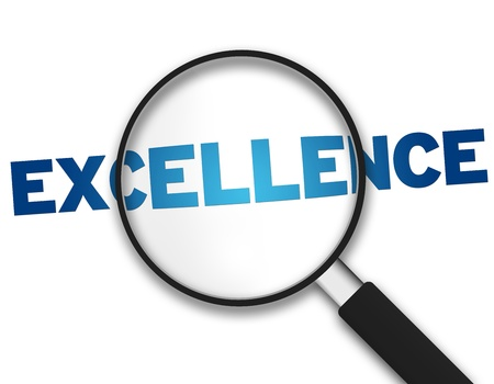 Magnifying Glass with the word Excellence on white background.