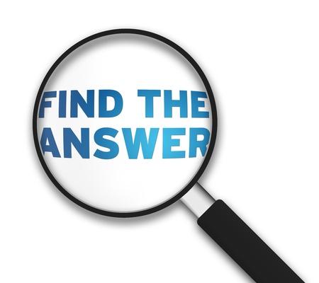 finding: Lupa con las palabras, encontrar la respuesta en el fondo blanco. Foto de archivo