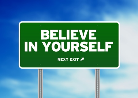 yourself: Green Believe in yourself highway sign on Cloud Background.  Stock Photo