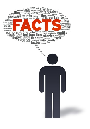 authenticity: Paper man with facts bubble on white background.  Stock Photo
