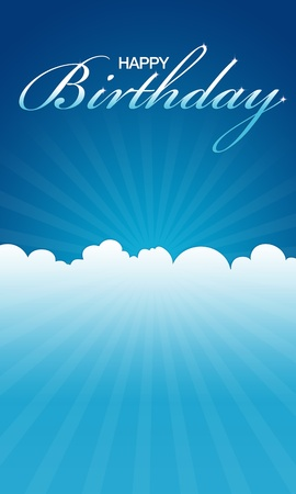 greeting card background: High resolution blue happy birthday card ready to print.