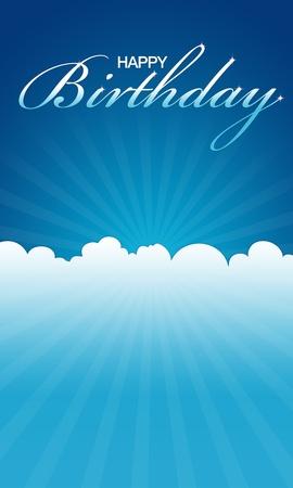 Hoge resolutie blauwe fijne verjaardag kaartje klaar om af te drukken.