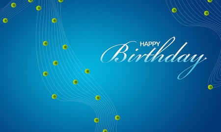 festive background: High resolution blue happy birthday card with green flowers.