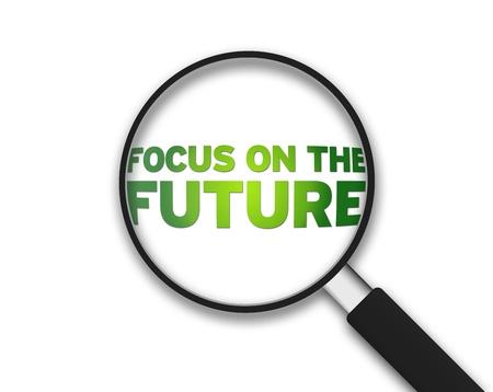 lupa: Lupa con el enfoque de la palabra en el futuro sobre fondo blanco.