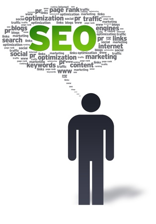 keywords link: Paper man with SEO Speech bubble on white background.