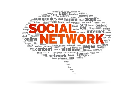 web marketing: Speech bubble with the word Social Network on white background. Stock Photo