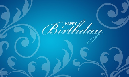 High resolution blue happy birthday card with floral elements photo