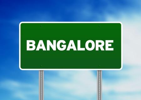 raod: Green Bangalore raod sign on Cloud Background.