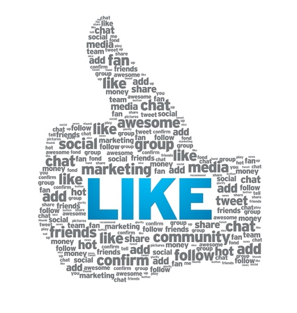 web marketing: Thumbs up like button on white background.