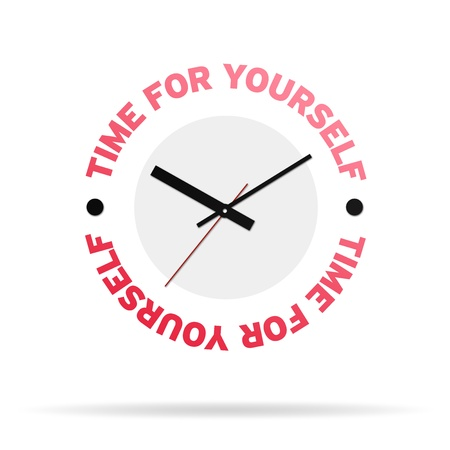 timekeeper: Clock with the words time for yourself on white background. Stock Photo