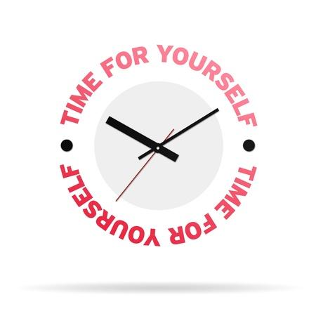 zelf doen: Klok met de woorden tijd voor jezelf op een witte achtergrond. Stockfoto