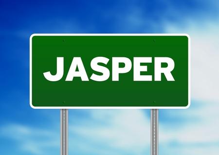 raod: Green Jasper raod sign on Cloud Background.