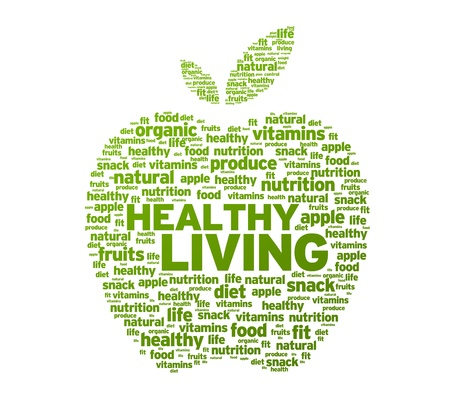 healthy life: Green Healthy Living Apple Illustration on white background.