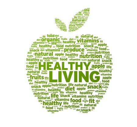 vitamina a: Verde saludable vivir Apple ilustraci�n sobre fondo blanco. Foto de archivo
